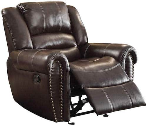 Homelegance Glider Bonded Leather Reclining Chair for lower back pain