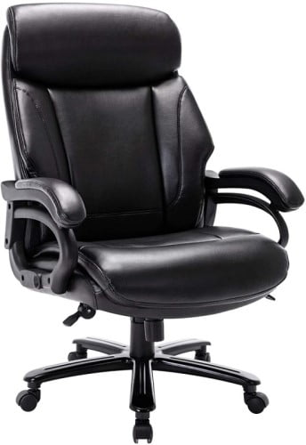 Starspace Swivel Executive Office Chair - Black Leather Model