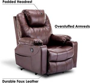 MCombo Electric Power Lift Recliner with premium PU leather upholstery
